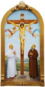 Gli Angeli onorano l'offerta dell'Agnello di Dio sulla Croce, adorato nella gloria regale dal papa san Giovanni Paolo II e da  san Pio da Pietrelcina stigmatizzato.